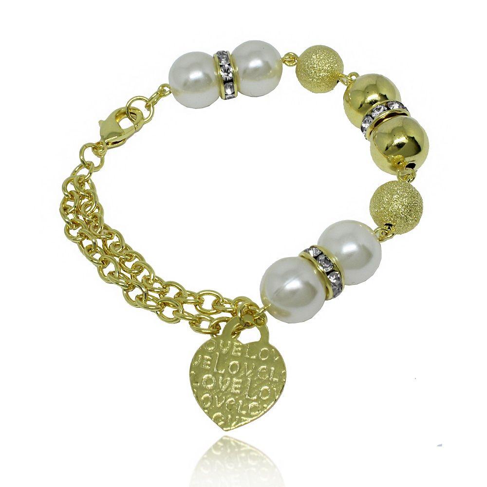 produtos detalhes pulseira de perola com pendentes de ancora folheado a ouro  - Busca na Lunozê Joias baf86b32f6