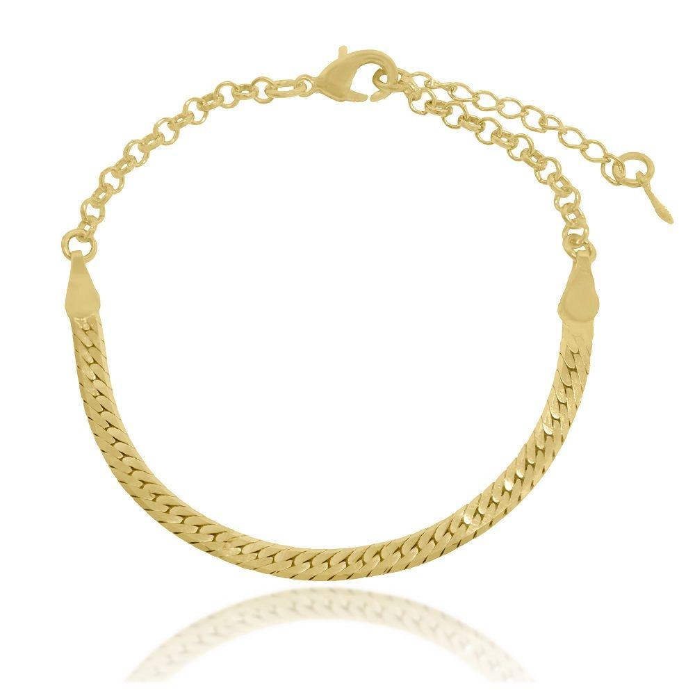 Pulseira Malha Serpente Folheado a Ouro 18k - Lunozê Joias 1f16b9d882