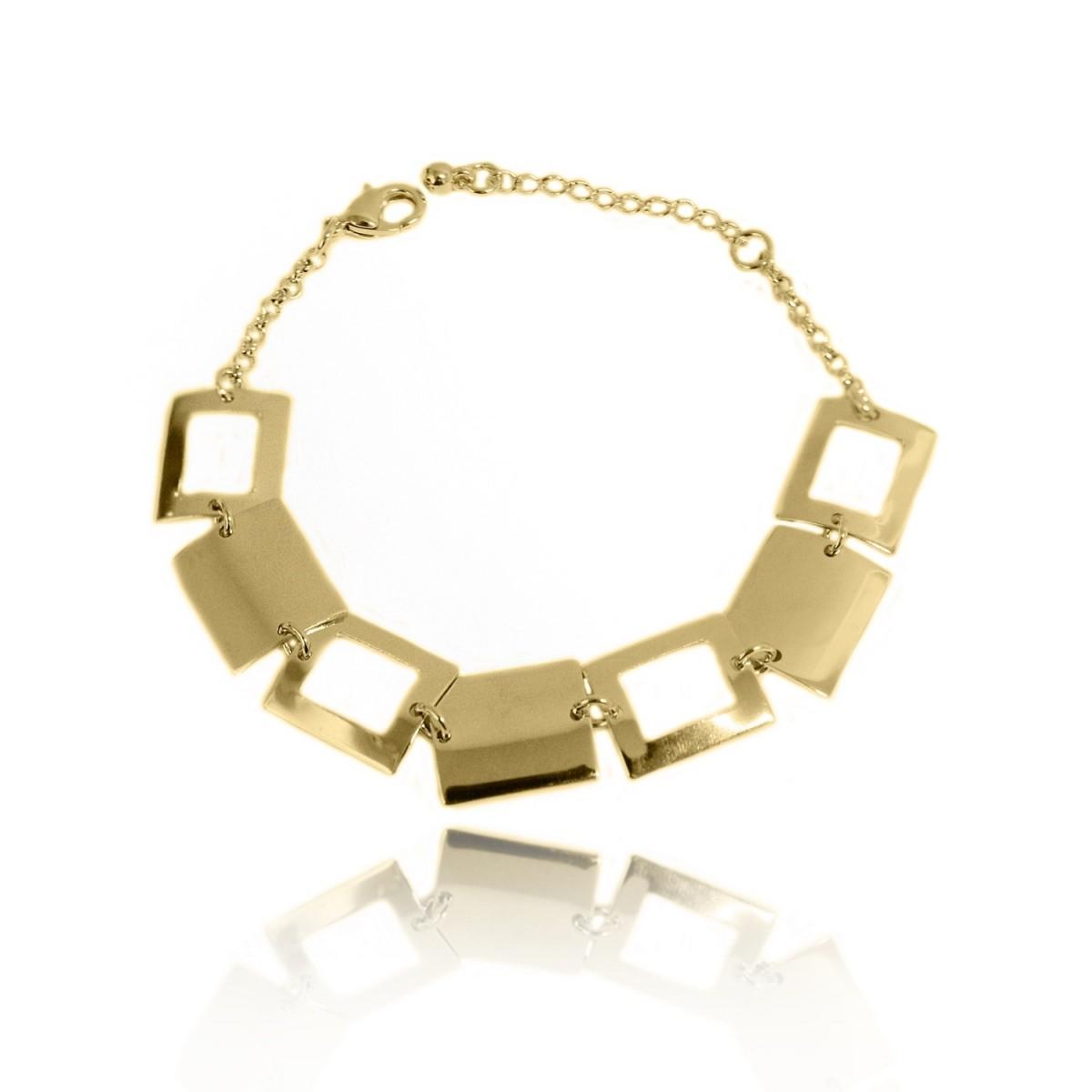 Pulseira Quadriculada Estilo Bracelete Folheado a Ouro 18k
