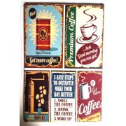 Placa de metal decorativa Retro Get More Coffee
