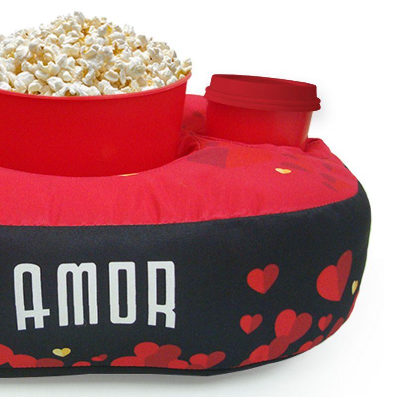 Almofada Porta Pipoca Serie de Amor kit 1 Balde + 2 Copos