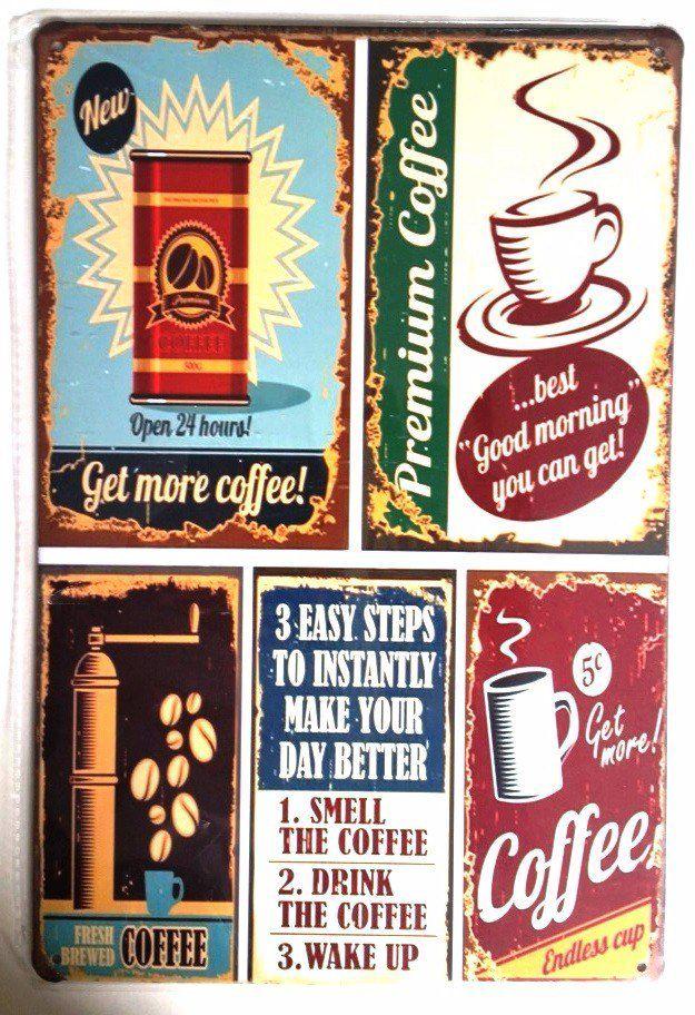 Placa de metal decorativa Retro Get More Coffee