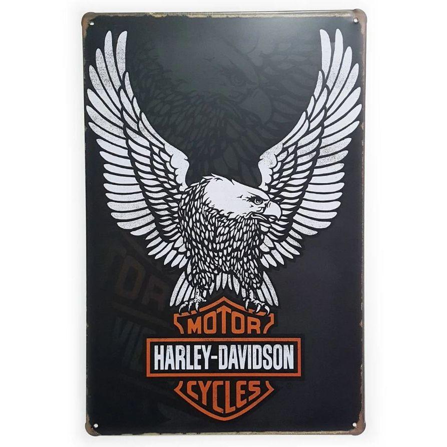 Placa de Metal Harley-Davidson Águia - 30 x 20 cm