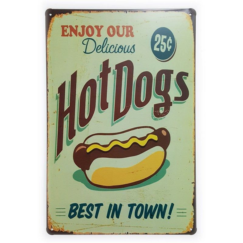 Placa de Metal Hot Dogs - 30 x 20 cm