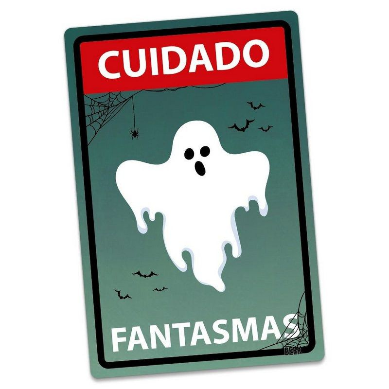 Placa Decorativa HALLOWEEN Cuidado Fantasmas