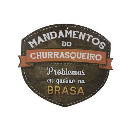 Placa Mandamentos do Churrasqueiro Humor
