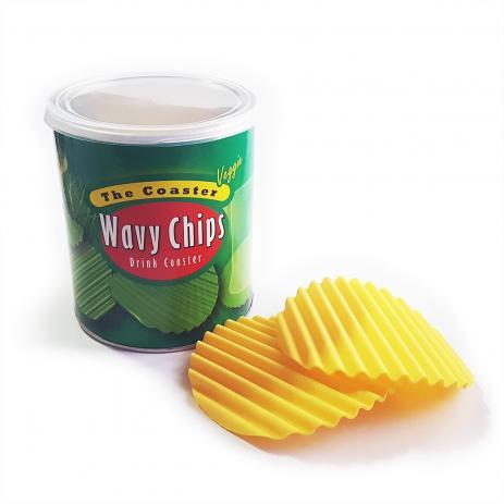 Porta Copos em Silicone Wavy Chips Veggie - 4 unidades