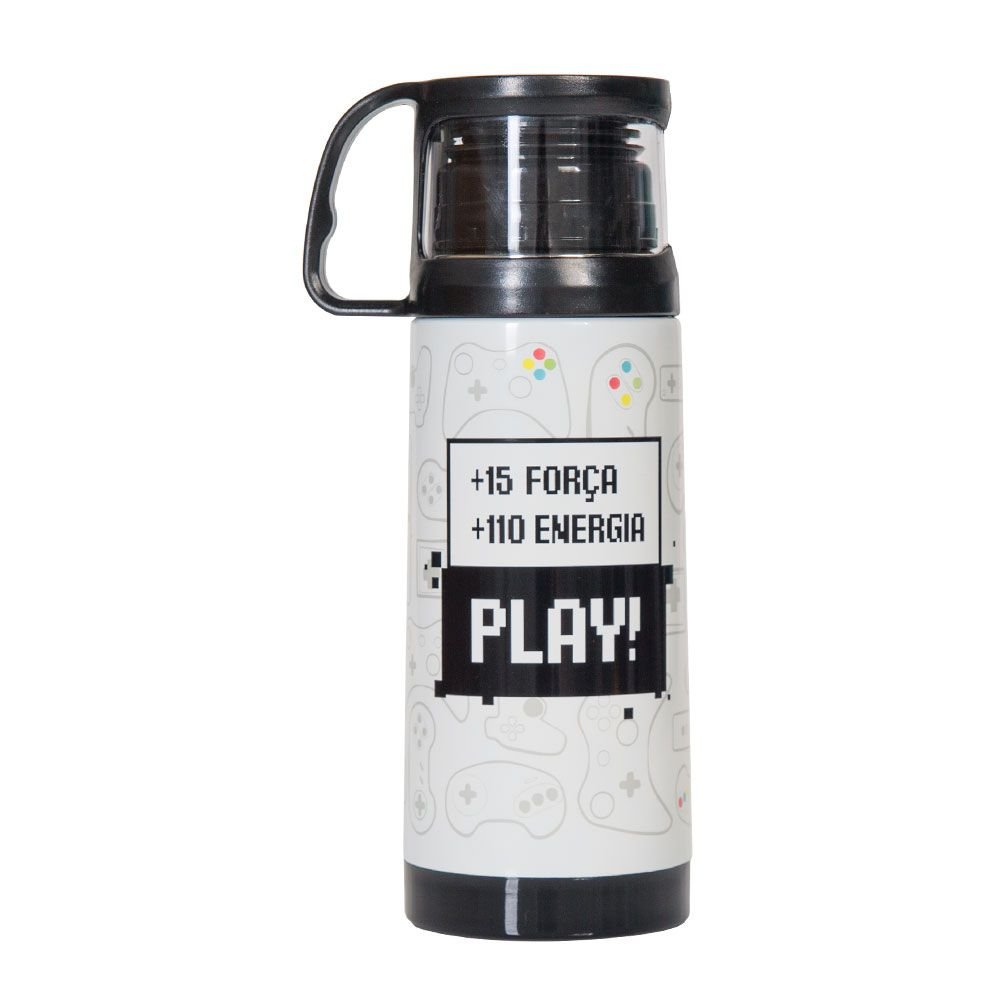 Squeeze térmica 350ml com caneca - game geek