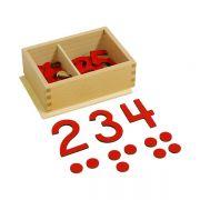 Caixa com Numerais Cortados e Fichas (Tentos 1-10)