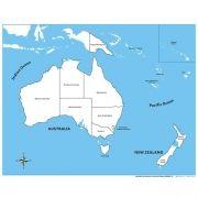 Controle para Mapa da Austrália com Partes Nomeadas em Inglês