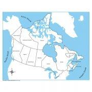 Controle para Mapa do Canadá com Partes Nomeadas em Inglês