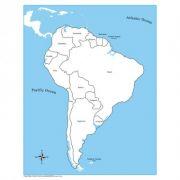 Controle para Mapa da América do Sul com Partes Nomeadas em Inglês