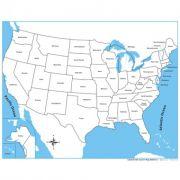 Controle para Mapa dos EUA com Partes Nomeadas em Inglês