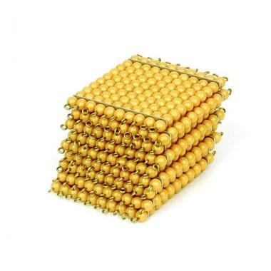 9 Quadrados de Centenas de Contas Douradas sem Bandeja