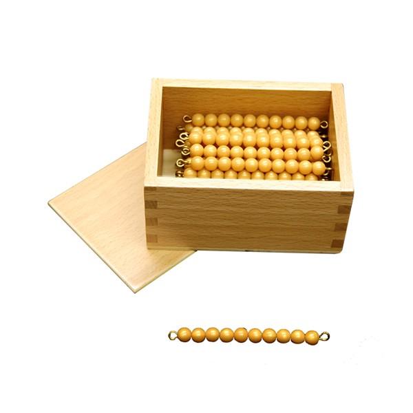 Caixa com 45 Barras de Dezenas de Contas Douradas