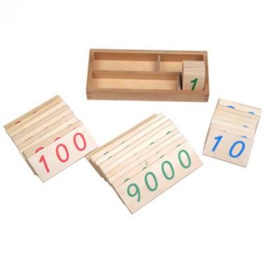 Caixa com Numerais em Cartões de Madeira (1-9000) Pequena