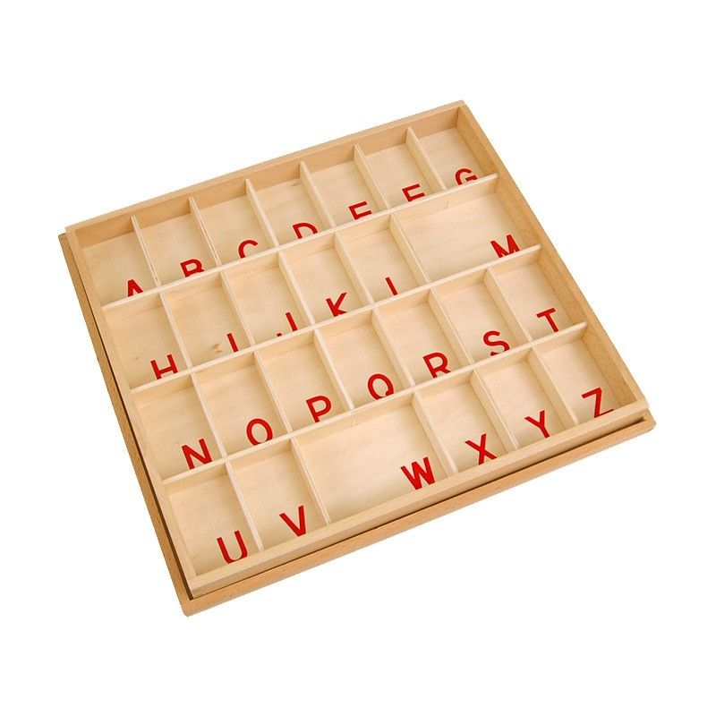 Caixa para Letras Bastão Maiúsculas do Alfabeto Móvel Pequeno