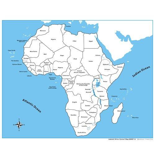 Controle para Mapa da África com Partes Nomeadas em Inglês