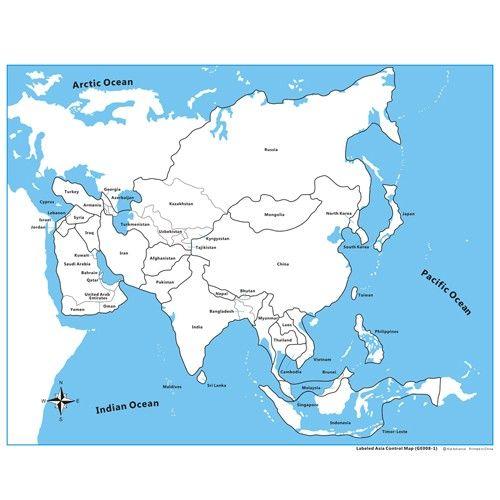 Controle para Mapa da Ásia com Partes Nomeadas em Inglês
