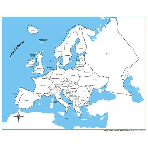 Controle para Mapa da Europa com Partes Nomeadas em Inglês