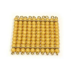 1 Quadrado de 100 Contas Douradas sem Bandeja