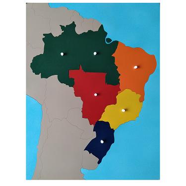 Quebra-Cabeça do Mapa do Brasil (Regiões) + Controle com Partes Nomeadas