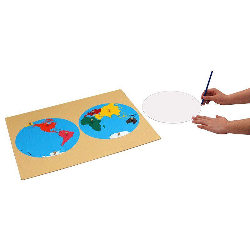 Quebra-Cabeça do Mapa Mundi com Circulo de Acrílico para Traçar