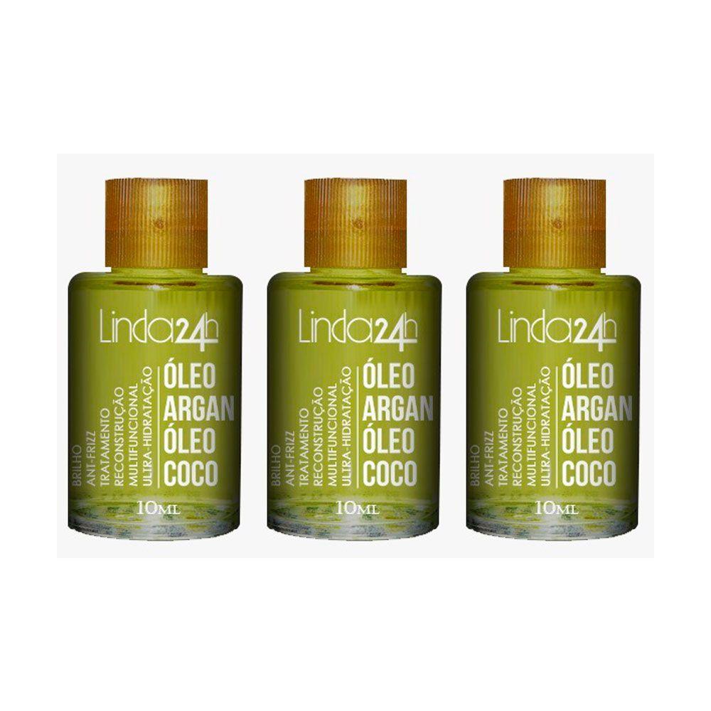 Óleo de Argan e Coco Linda 24h Professional 3x10 ml