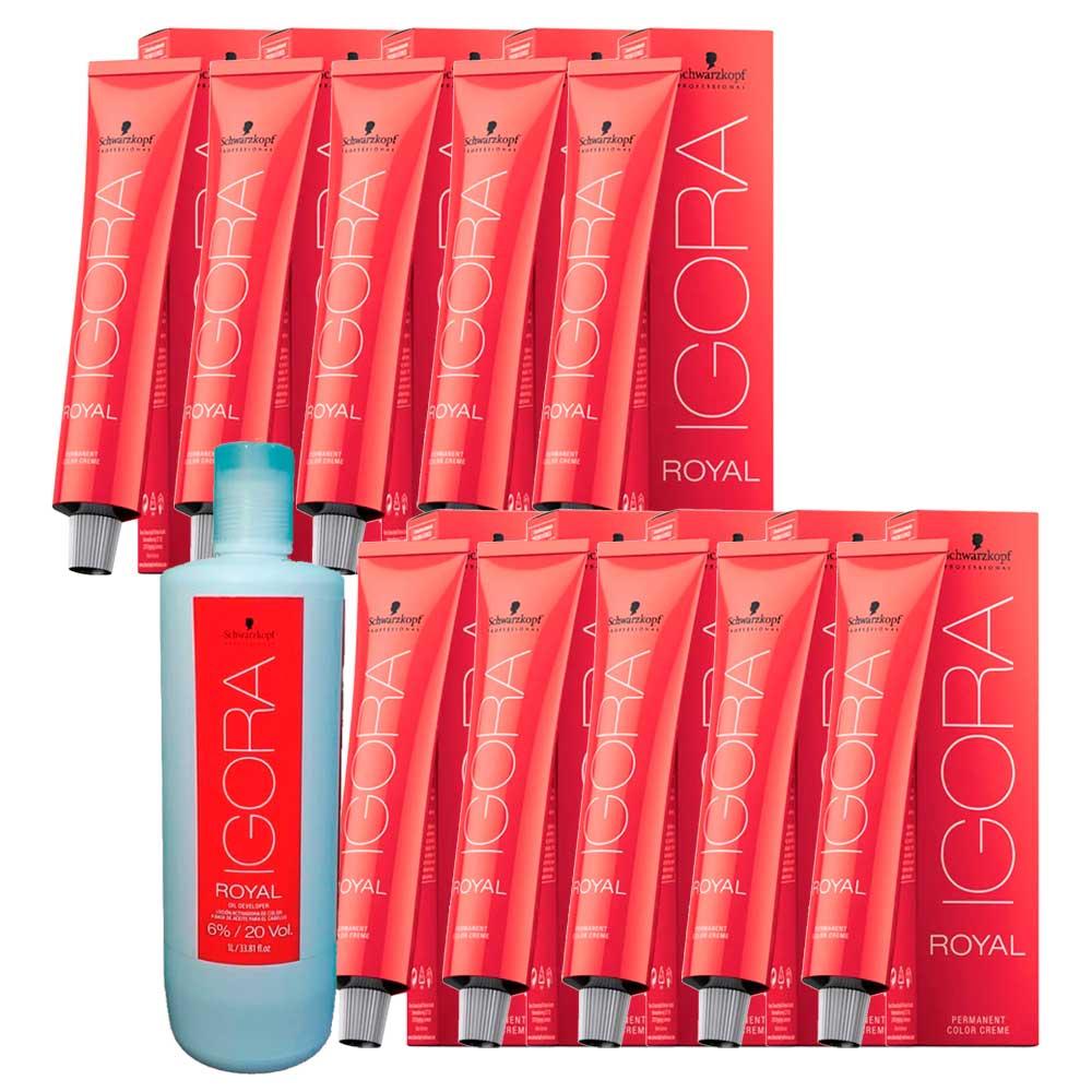 Kit 6 Coloração Igora Royal 7-00 + 4 7-77 + 1 Ox de 20 Vol 1L