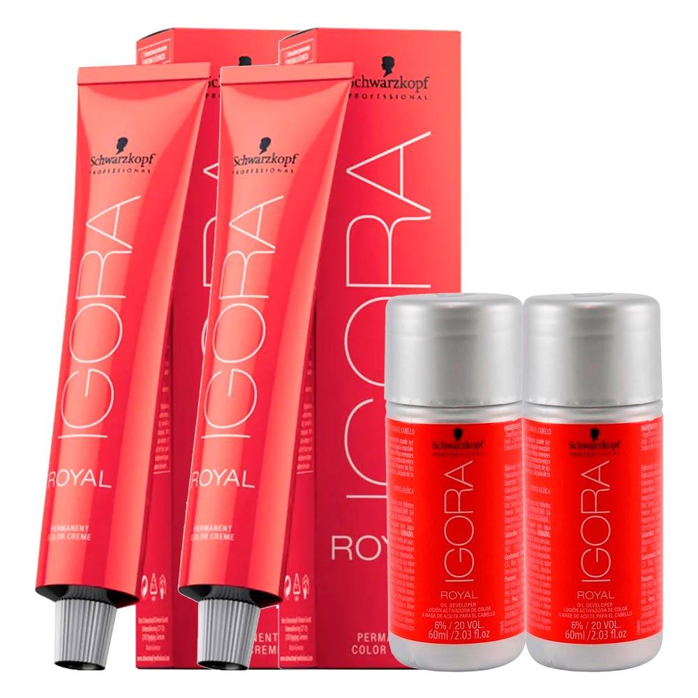 Kit 1 Coloração Igora Royal 5-0 + 1 6-1 + 2 Ox 20 Vol 60 Ml