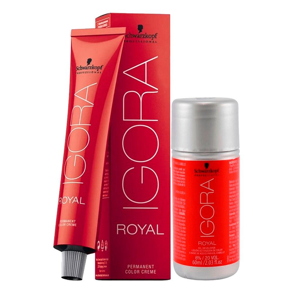 Kit 1 Coloração Igora Royal 6-00 e 1 ox 30 Vol 60 ml