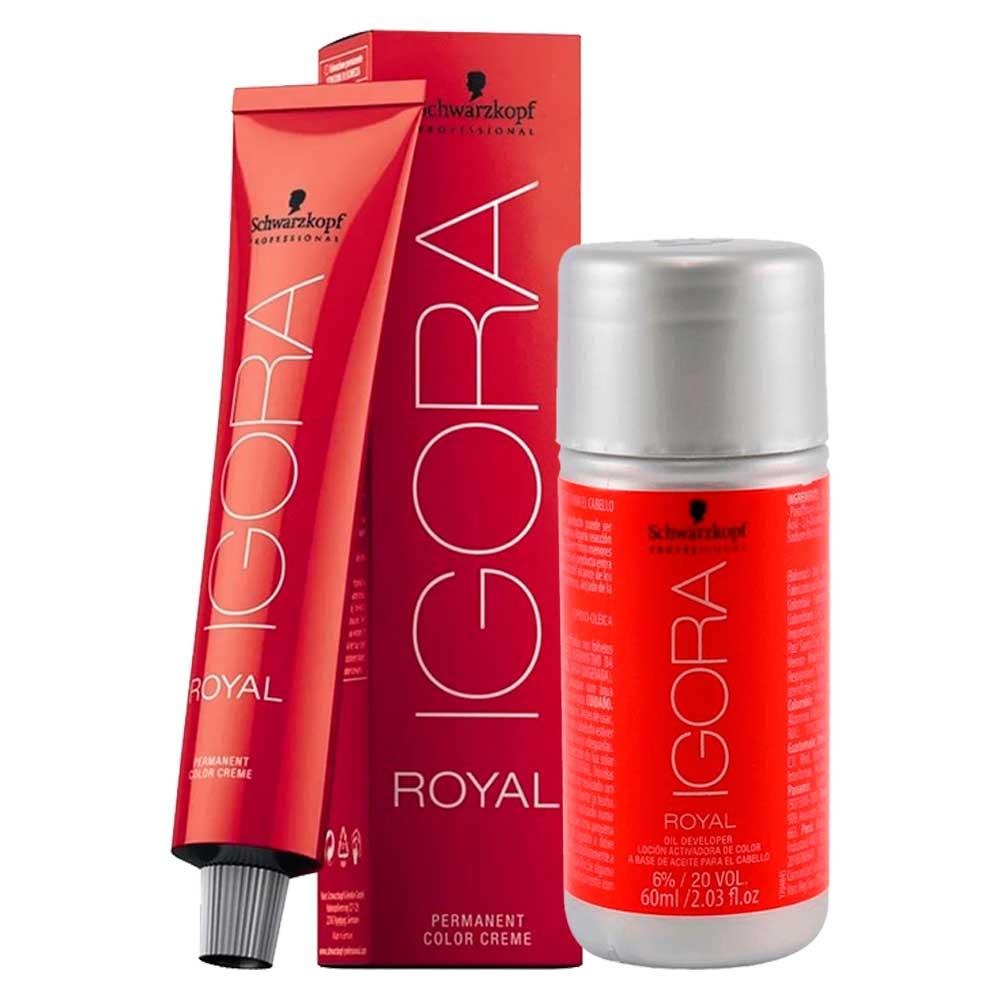 Kit 1 Coloração Igora Royal 9,5-4 e 1 ox 20 Vol 60 ml