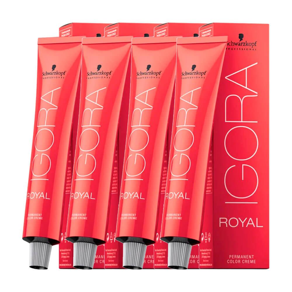 Kit 4 Coloração Igora Royal 7-0 Louro Médio Natural + BRINDE