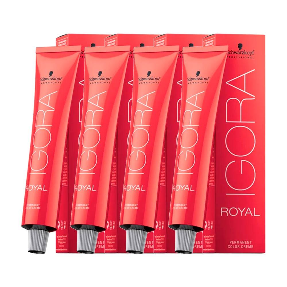 Kit 4 Coloração Igora Royal 8.77 Louro Claro Cobre Extra 60g