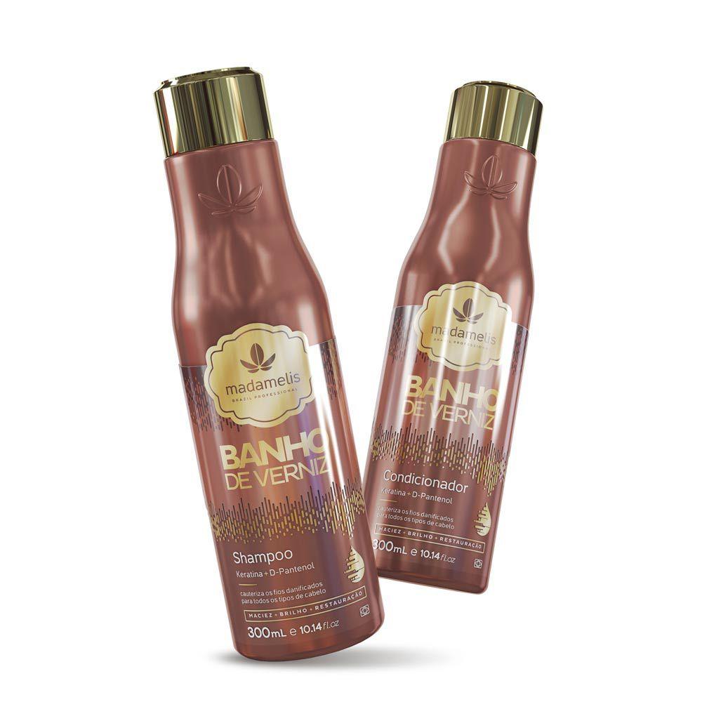 Kit Madamelis Banho de Verniz Shampoo e Condicionador