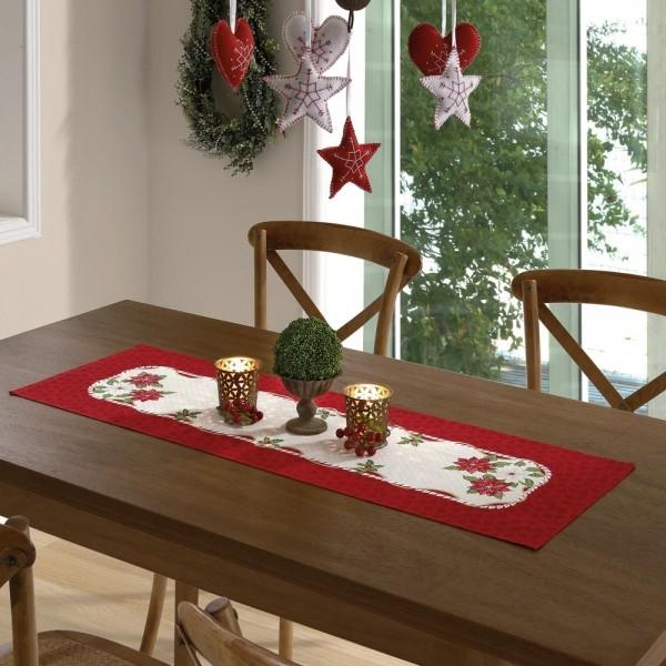 Caminho de Mesa Flores de Natal  35cm X 1,00m Genebra - Dohler