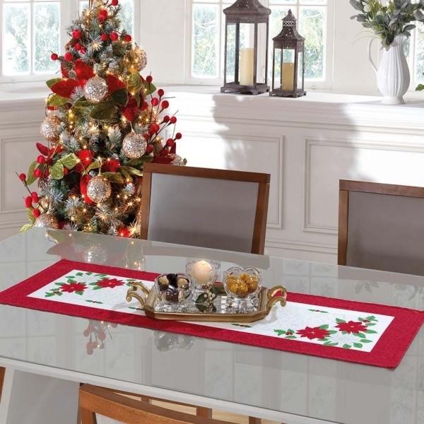 Caminho de Mesa Flores de Natal Vermelha e Branca  35cm X 1,00m Genebra - Dohler