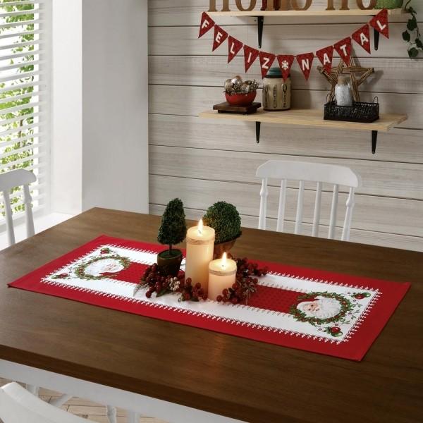 Caminho de Mesa Natal Papai Noel 35cm X 1,00m Genebra - Dohler