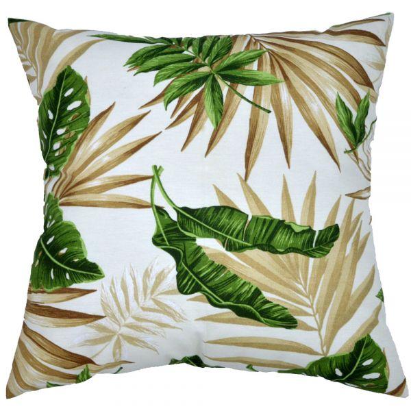 Capa de almofada decorativa 45x45 impermeável estampada folhagem branco