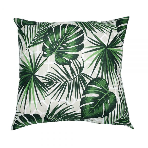 Capa de almofada decorativa 45x45 impermeável estampada folhagem verde