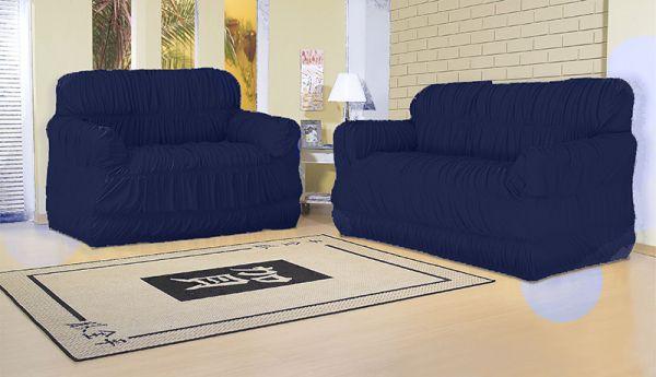 Capa para sofá 2 e 3 lugares com 21 elásticos Azul Marinho  América
