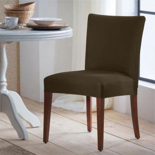 Capa para cadeira malha lisa marrom - Adomes