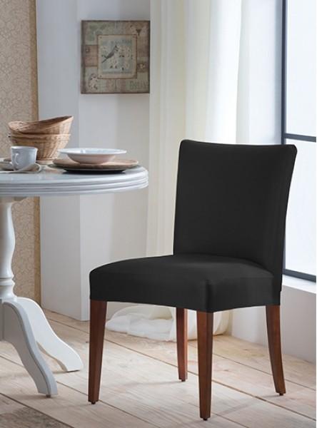 Capa para cadeira malha lisa preto - adomes