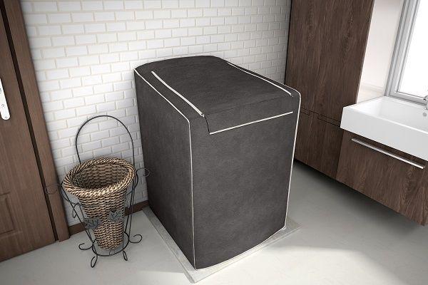 Capa para máquina de lavar roupa de 12kg a 16kg - Cor Café - adomes
