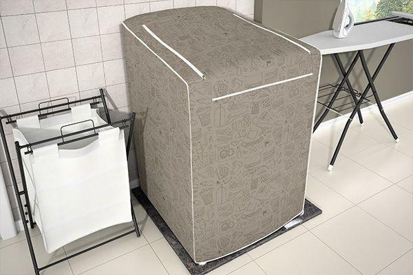 Capa para máquina de lavar roupa  de 7kg a 9kg - estampada bege - adomes