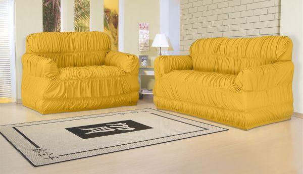 Capa para sofá 2 e 3 lugares com 21 elásticos Mostarda - América