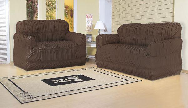 Capa para sofá 2 e 3 lugares com 21 elásticos Tabaco - América