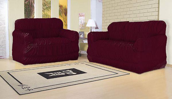 Capa para sofá 2 e 3 lugares com 21 elásticos  Vinho - América