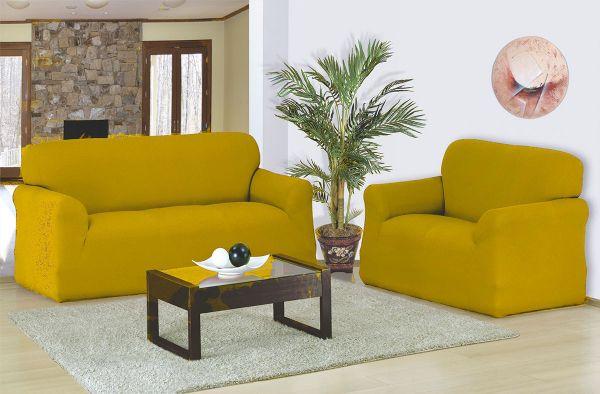 Capa para sofá 2 e 3 Lugares em malha elástica Mostarda - A favorita