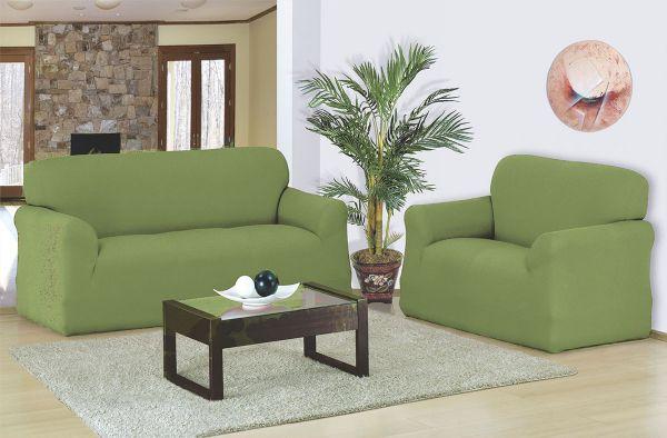 Capa para sofá 2 e 3 Lugares em malha elástica Verde Ervilha - A favorita